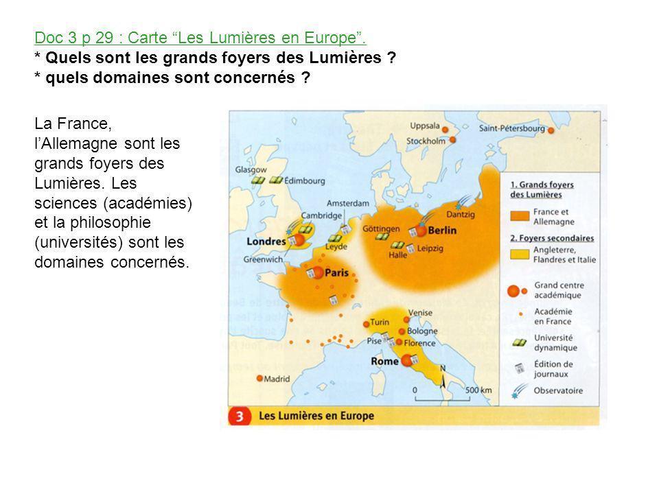 Doc 3 p 29 : Carte Les Lumières en Europe .