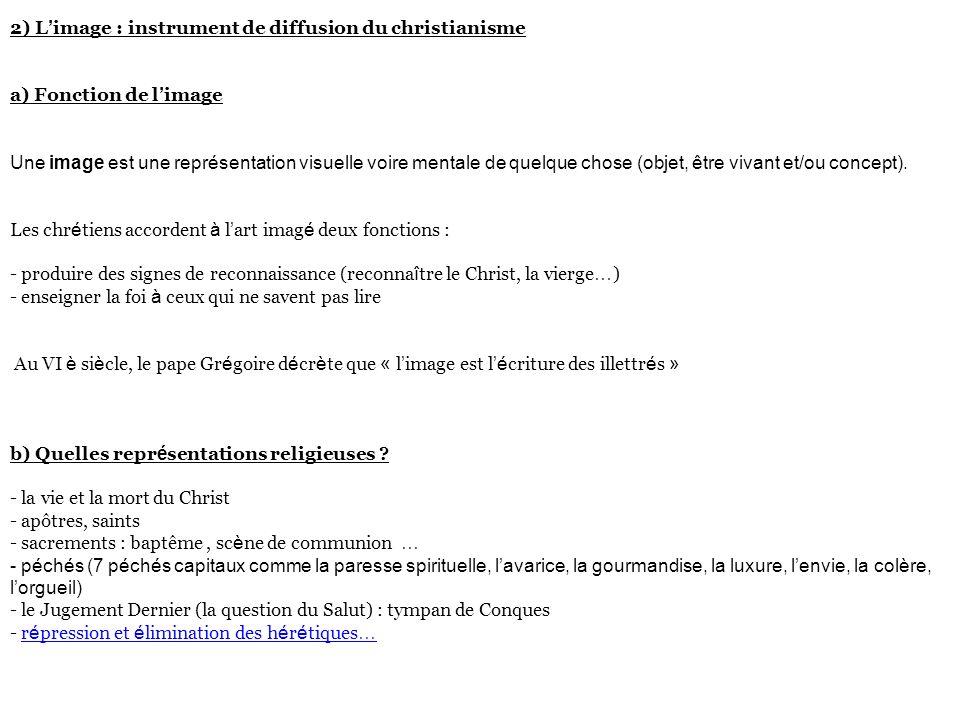 2) L'image : instrument de diffusion du christianisme