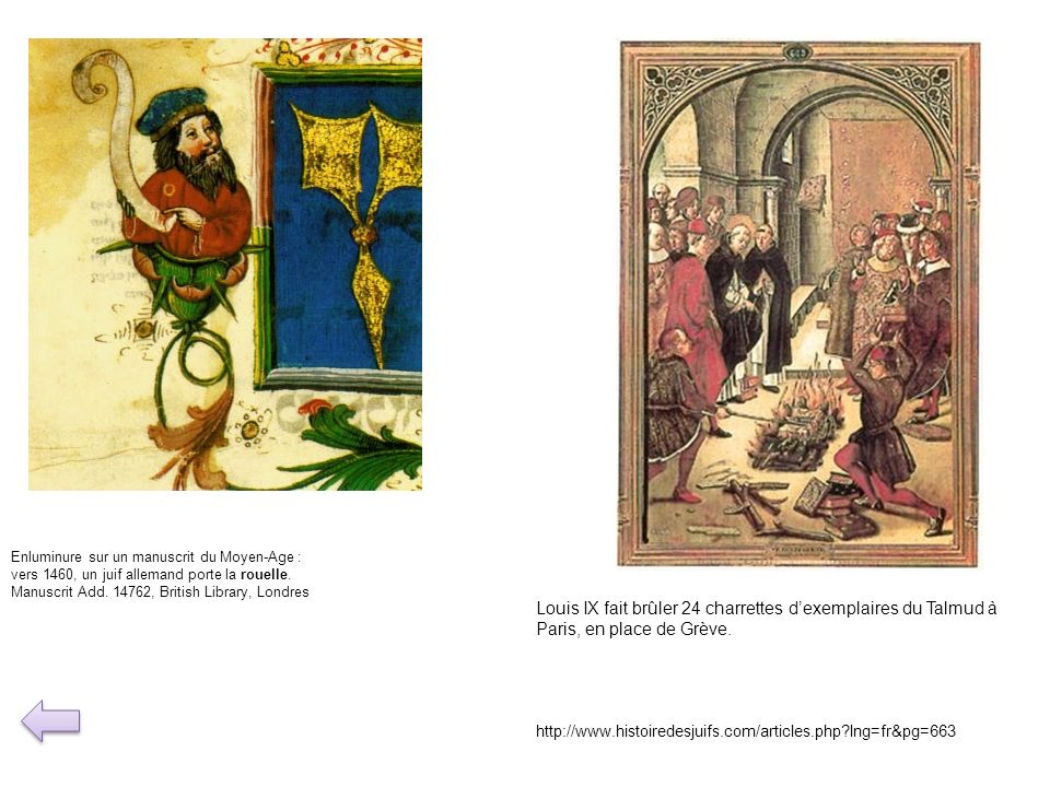 Enluminure sur un manuscrit du Moyen-Age : vers 1460, un juif allemand porte la rouelle. Manuscrit Add. 14762, British Library, Londres