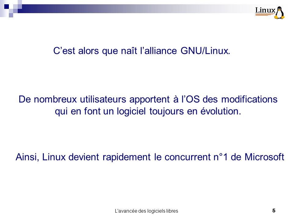 C'est alors que naît l'alliance GNU/Linux.