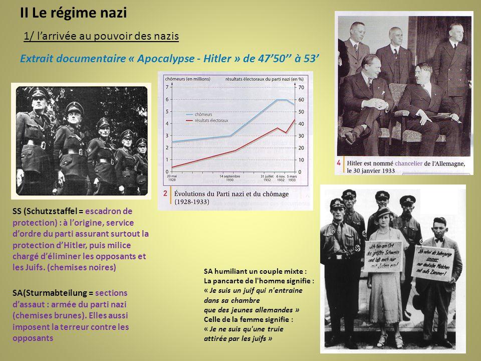 II Le régime nazi 1/ l'arrivée au pouvoir des nazis