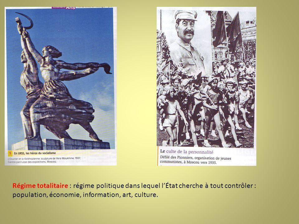 Régime totalitaire : régime politique dans lequel l'État cherche à tout contrôler : population, économie, information, art, culture.