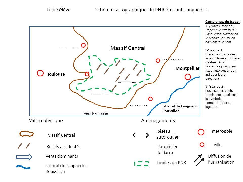 Fiche élève Schéma cartographique du PNR du Haut-Languedoc