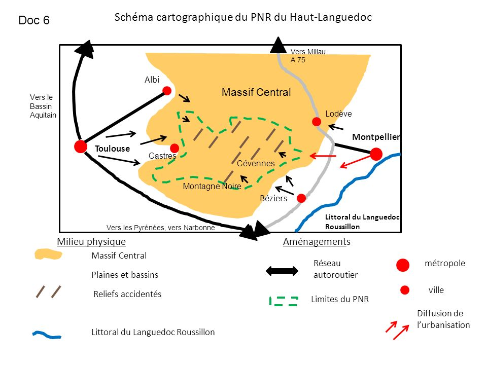 Schéma cartographique du PNR du Haut-Languedoc