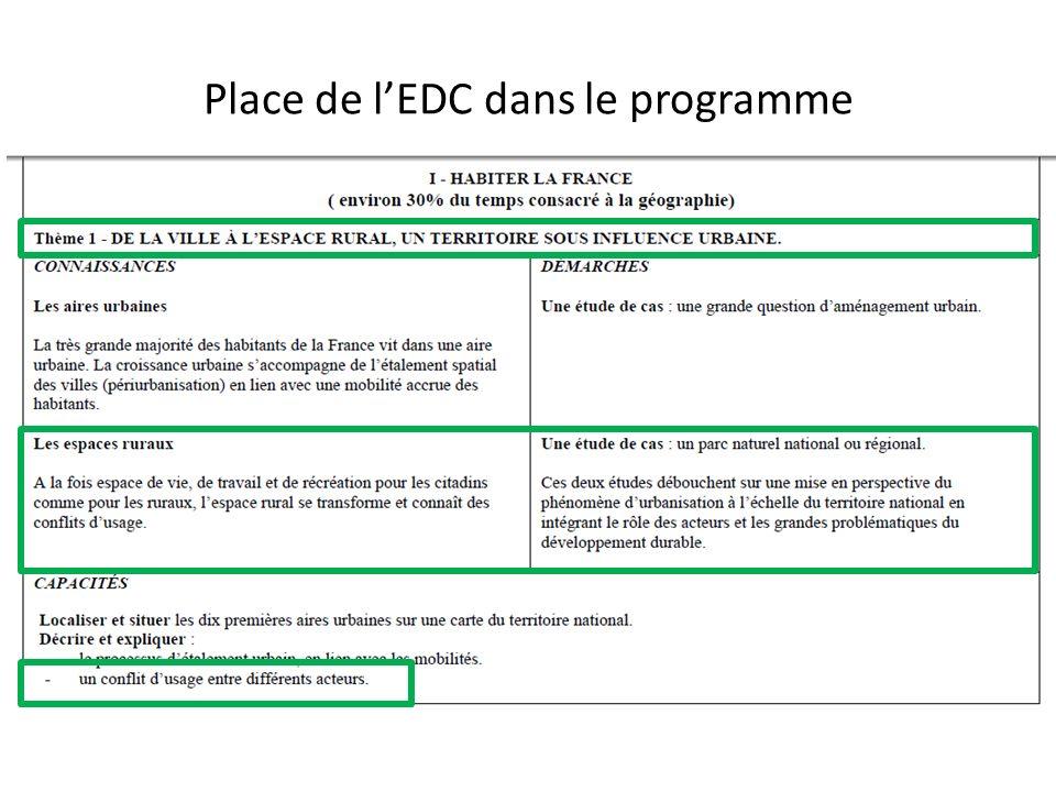 Place de l'EDC dans le programme