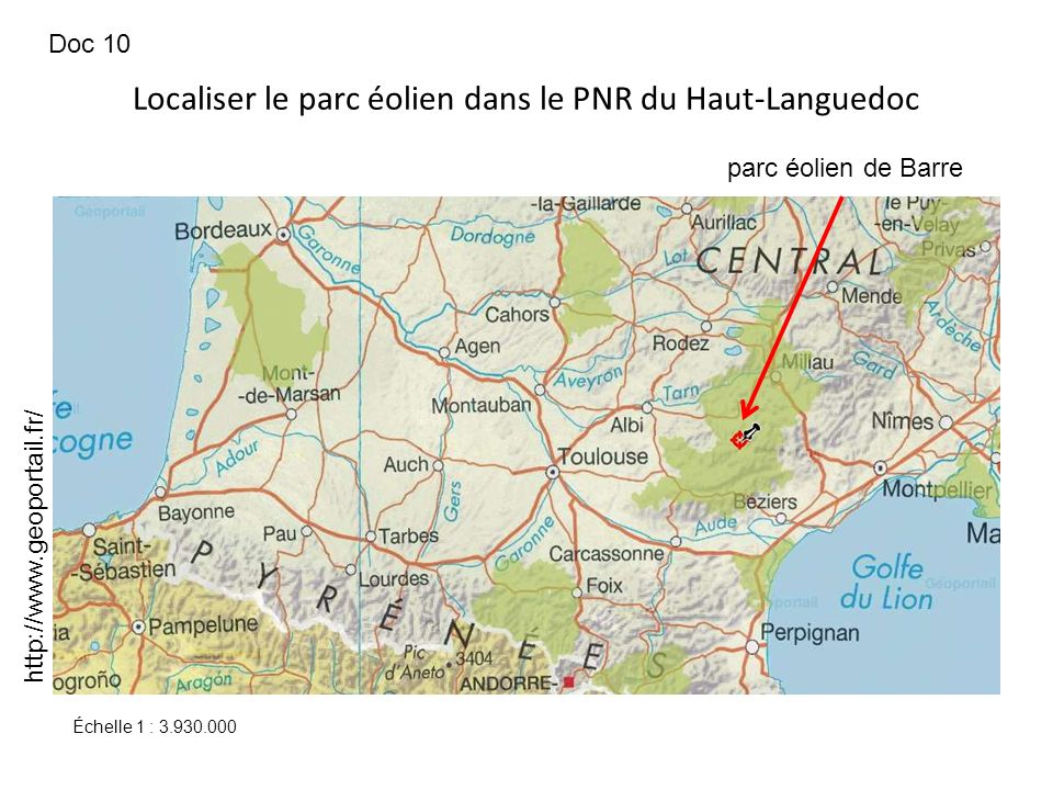Localiser le parc éolien dans le PNR du Haut-Languedoc