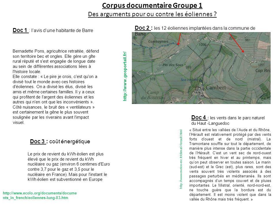 Corpus documentaire Groupe 1 Des arguments pour ou contre les éoliennes