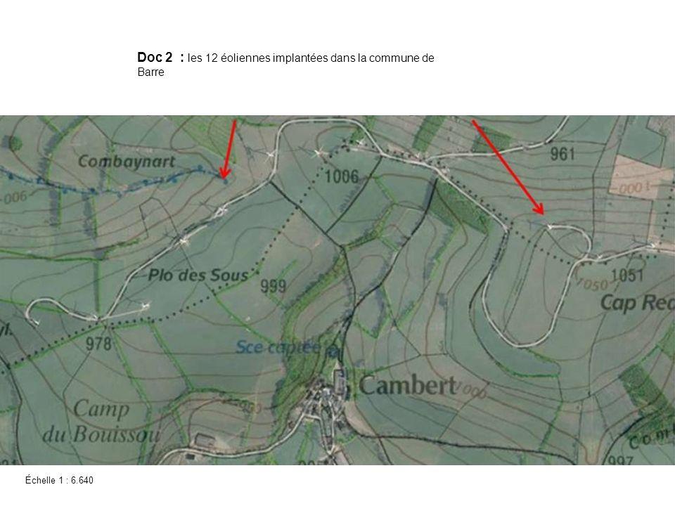 Doc 2 : les 12 éoliennes implantées dans la commune de Barre
