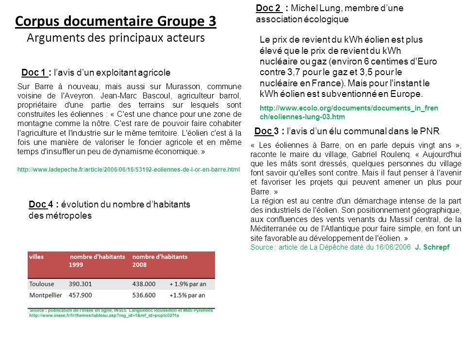 Corpus documentaire Groupe 3 Arguments des principaux acteurs