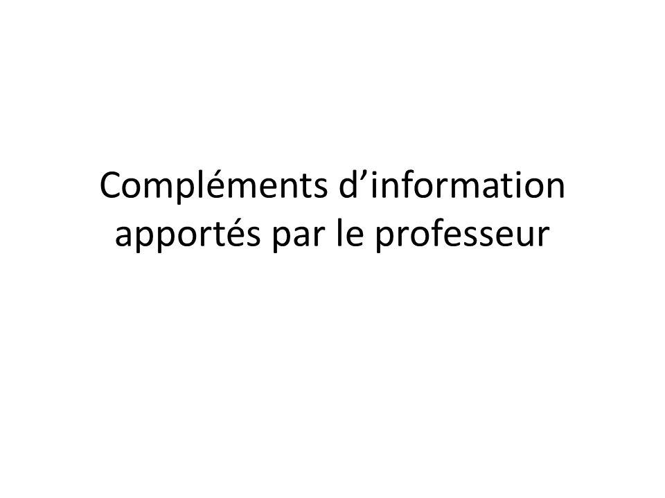 Compléments d'information apportés par le professeur