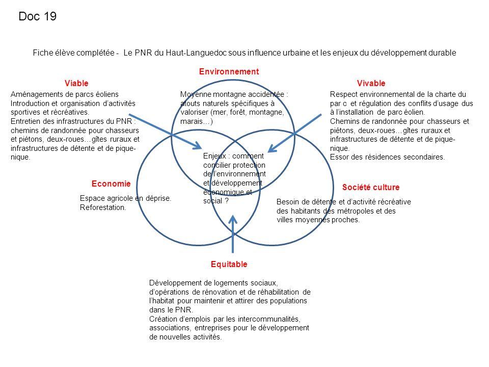 Doc 19 Fiche élève complétée - Le PNR du Haut-Languedoc sous influence urbaine et les enjeux du développement durable.