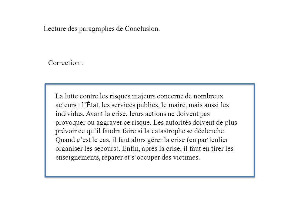 Lecture des paragraphes de Conclusion.