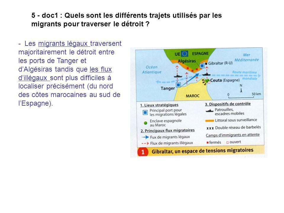 5 - doc1 : Quels sont les différents trajets utilisés par les migrants pour traverser le détroit