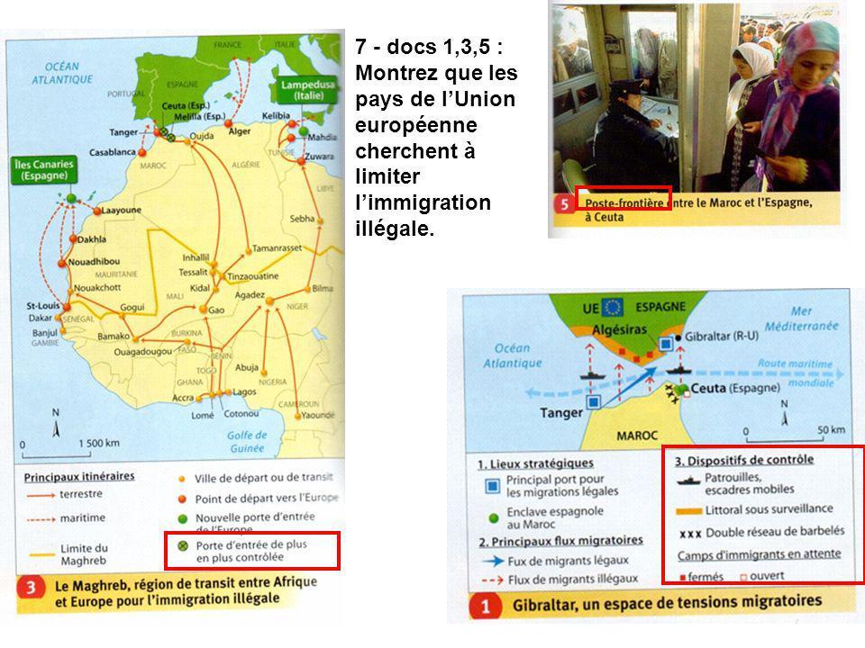 7 - docs 1,3,5 : Montrez que les pays de l'Union européenne cherchent à limiter l'immigration illégale.