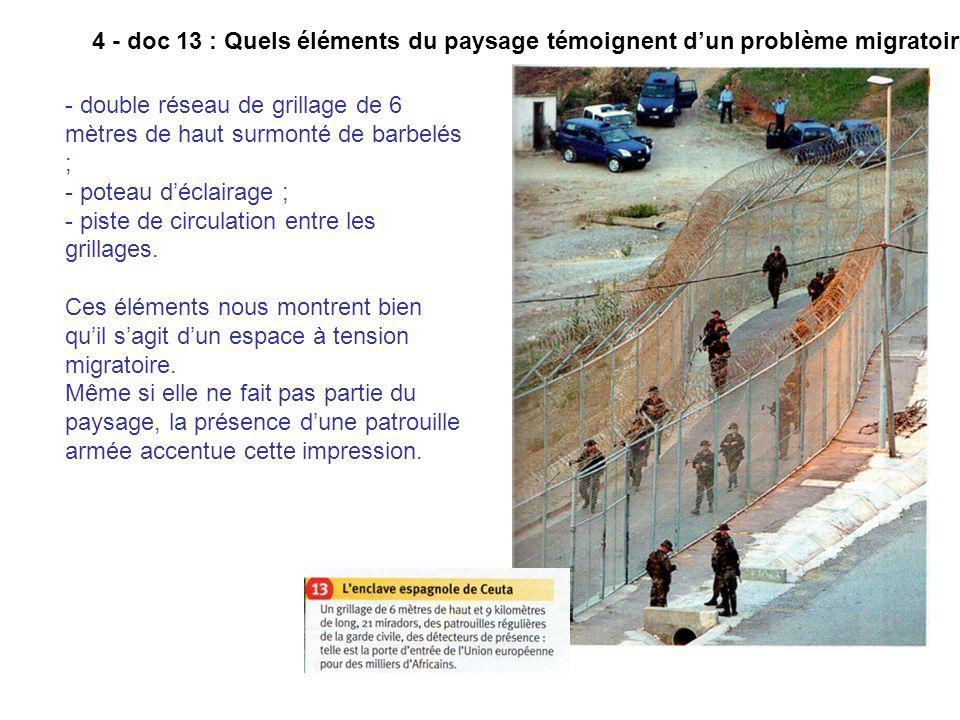 4 - doc 13 : Quels éléments du paysage témoignent d'un problème migratoire