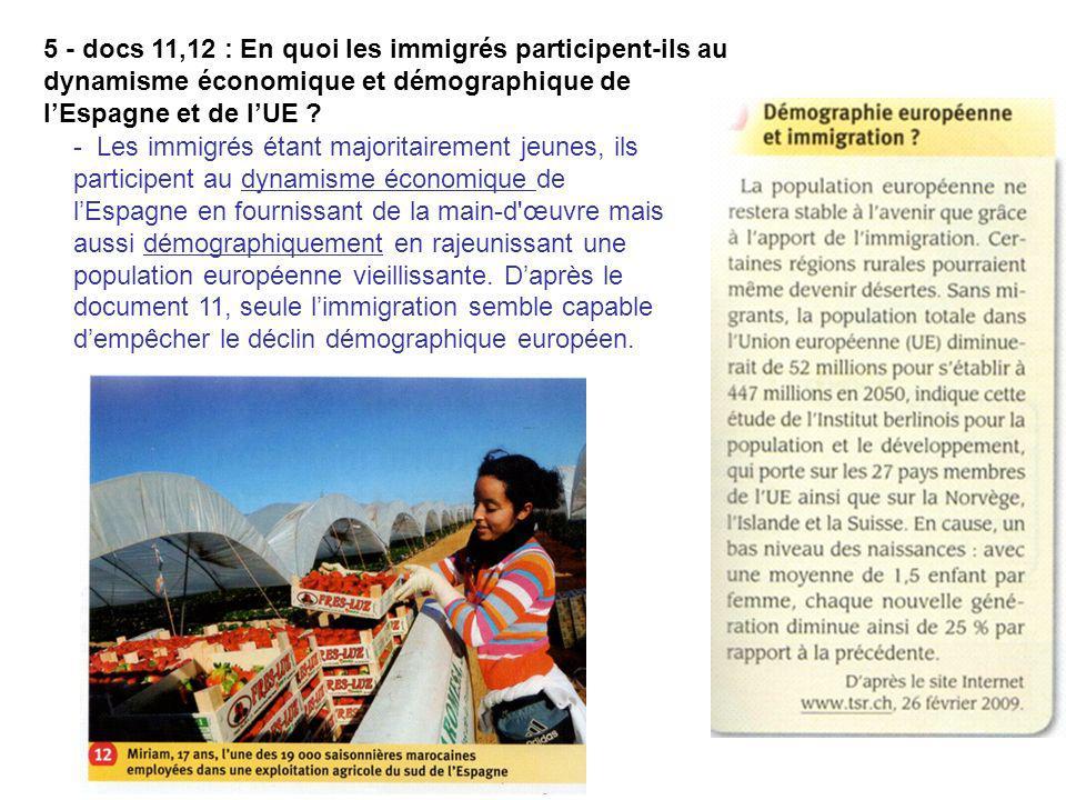 5 - docs 11,12 : En quoi les immigrés participent-ils au dynamisme économique et démographique de l'Espagne et de l'UE