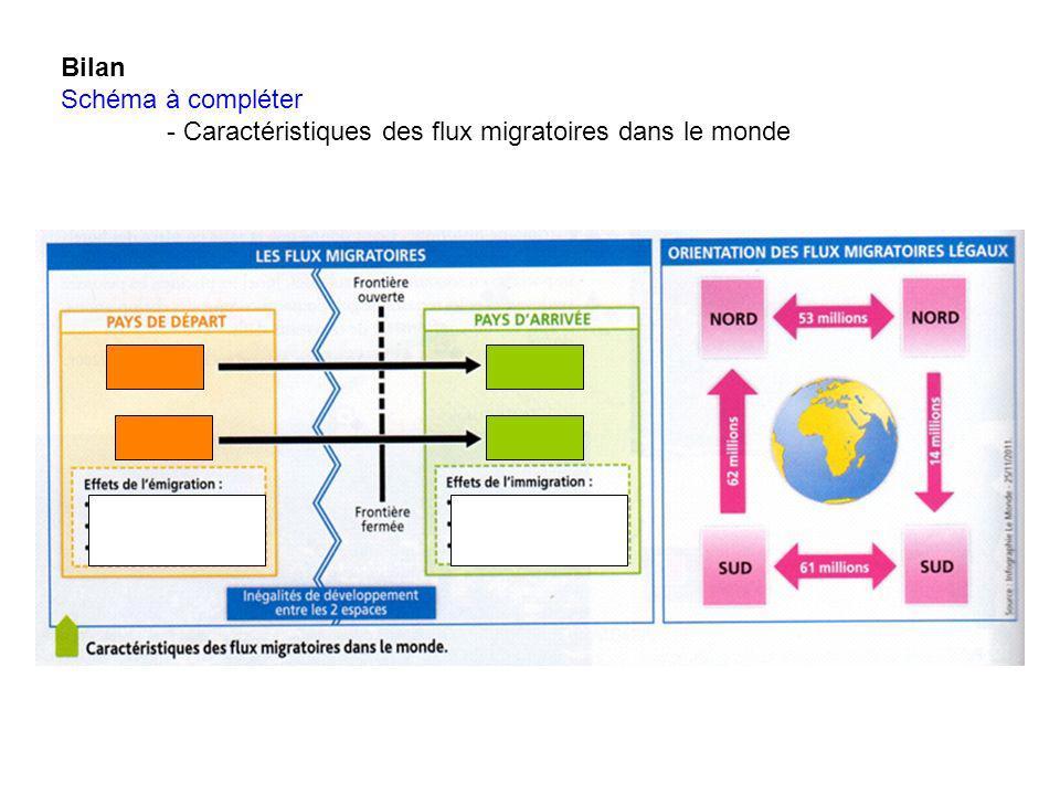 Bilan Schéma à compléter - Caractéristiques des flux migratoires dans le monde