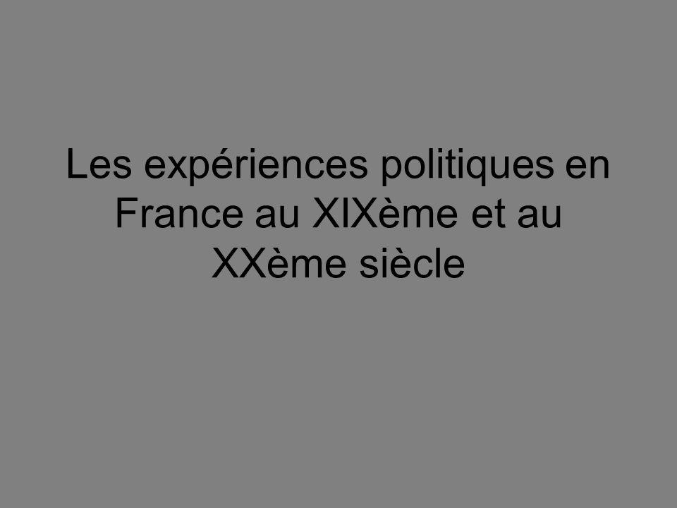 Les expériences politiques en France au XIXème et au XXème siècle