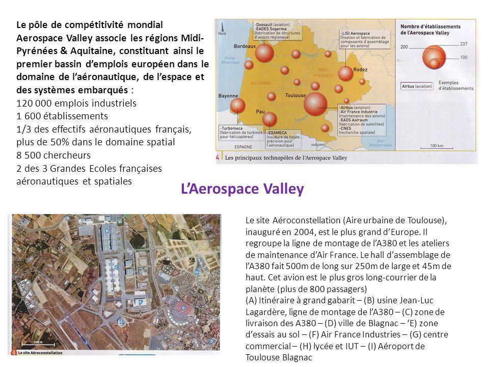Le pôle de compétitivité mondial Aerospace Valley associe les régions Midi-Pyrénées & Aquitaine, constituant ainsi le premier bassin d'emplois européen dans le domaine de l'aéronautique, de l'espace et des systèmes embarqués : 120 000 emplois industriels