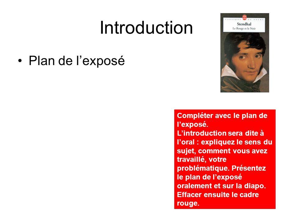 Introduction Plan de l'exposé Compléter avec le plan de l'exposé.
