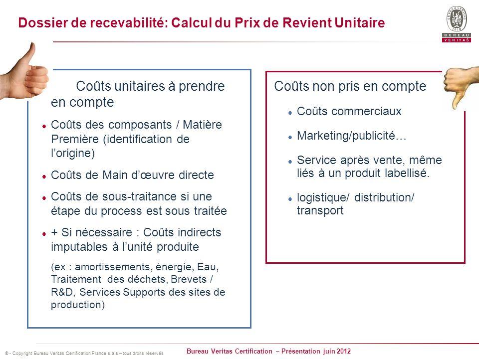 Dossier de recevabilité: Calcul du Prix de Revient Unitaire