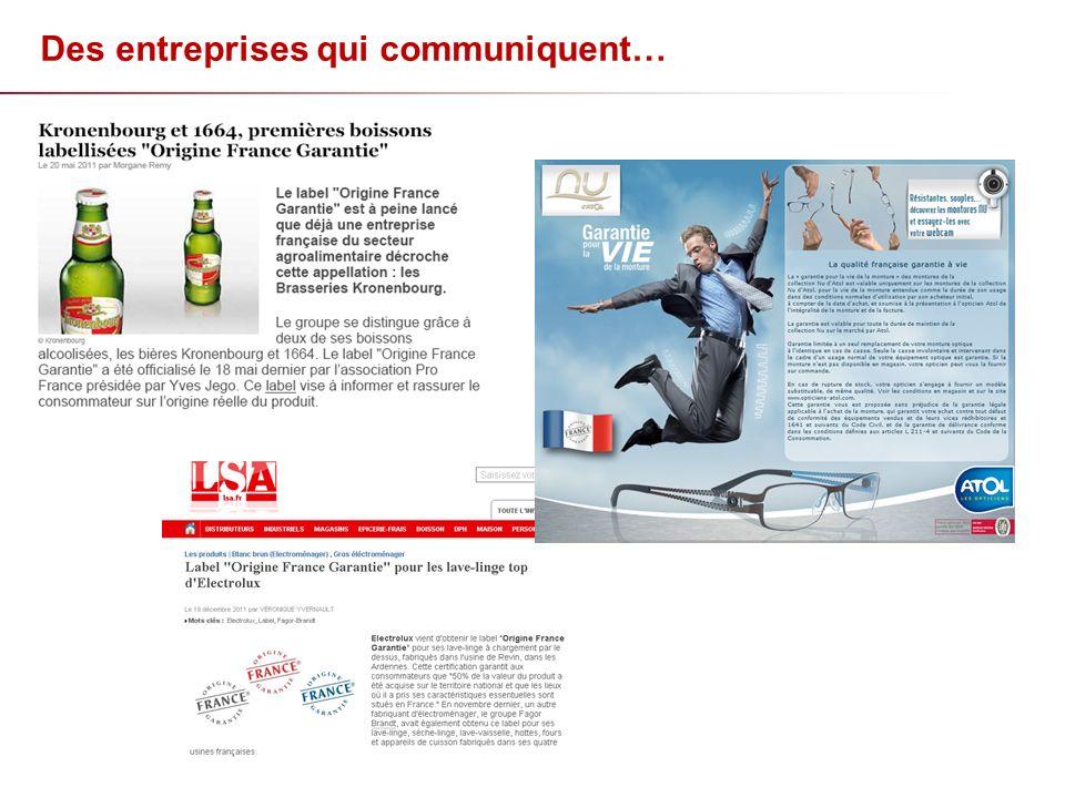 Des entreprises qui communiquent…
