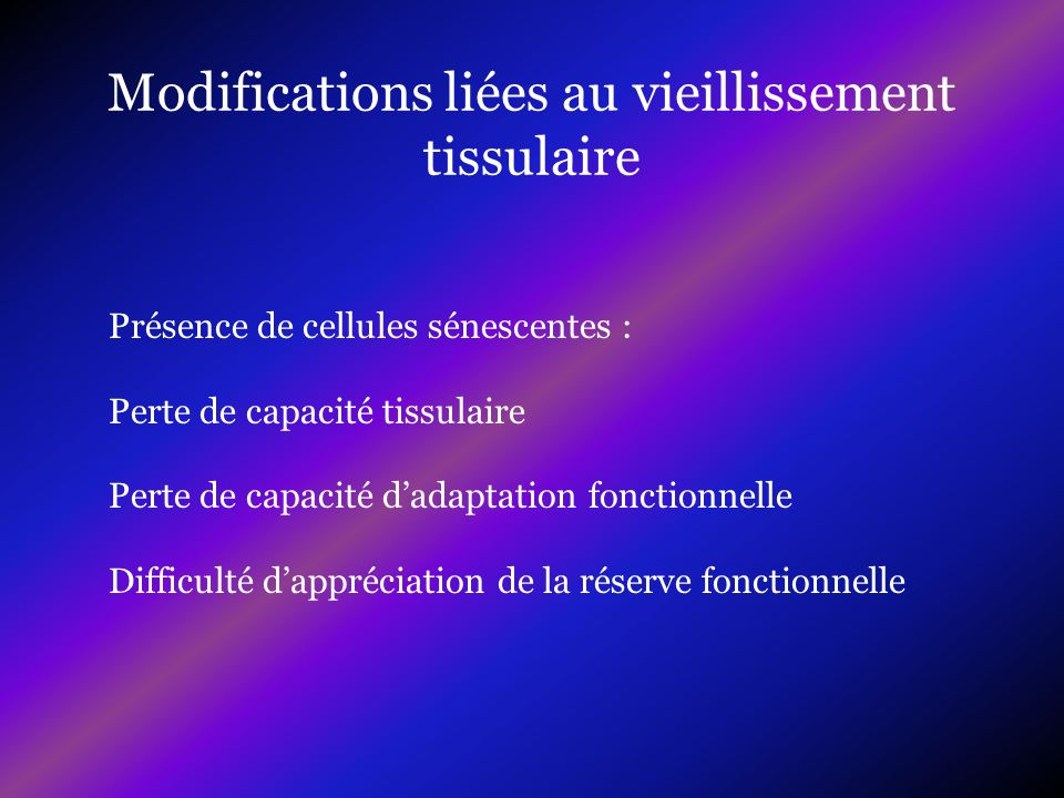 Modifications liées au vieillissement tissulaire