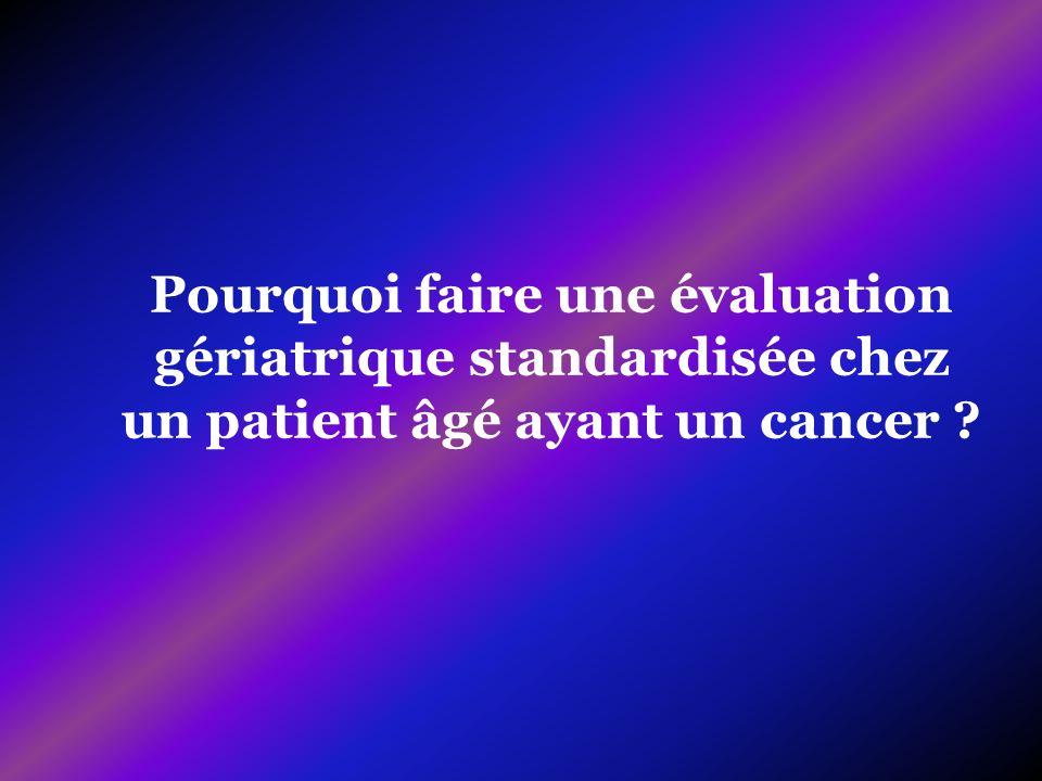 Pourquoi faire une évaluation gériatrique standardisée chez un patient âgé ayant un cancer