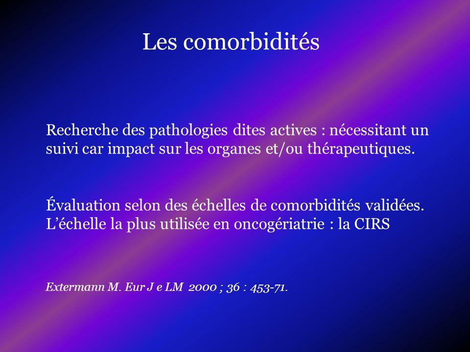 Les comorbidités Recherche des pathologies dites actives : nécessitant un suivi car impact sur les organes et/ou thérapeutiques.