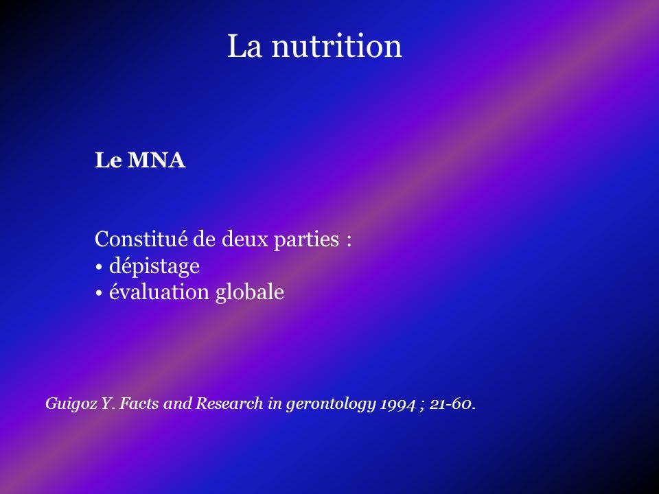 La nutrition Le MNA Constitué de deux parties : dépistage
