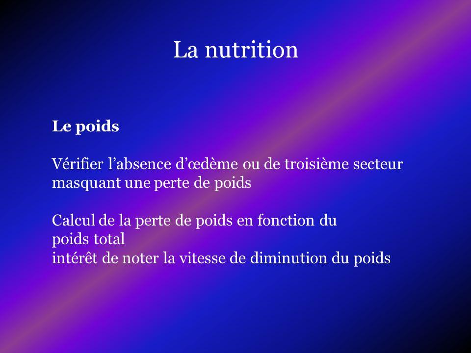 La nutrition Le poids. Vérifier l'absence d'œdème ou de troisième secteur. masquant une perte de poids.