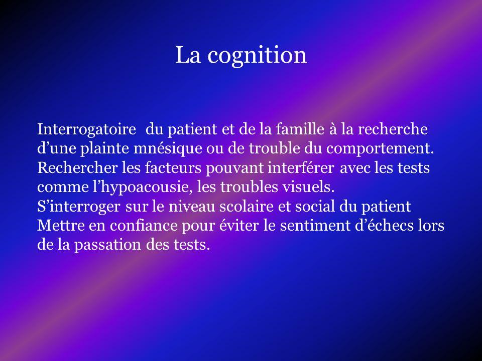 La cognitionInterrogatoire du patient et de la famille à la recherche d'une plainte mnésique ou de trouble du comportement.