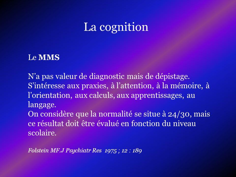 La cognition Le MMS N'a pas valeur de diagnostic mais de dépistage.
