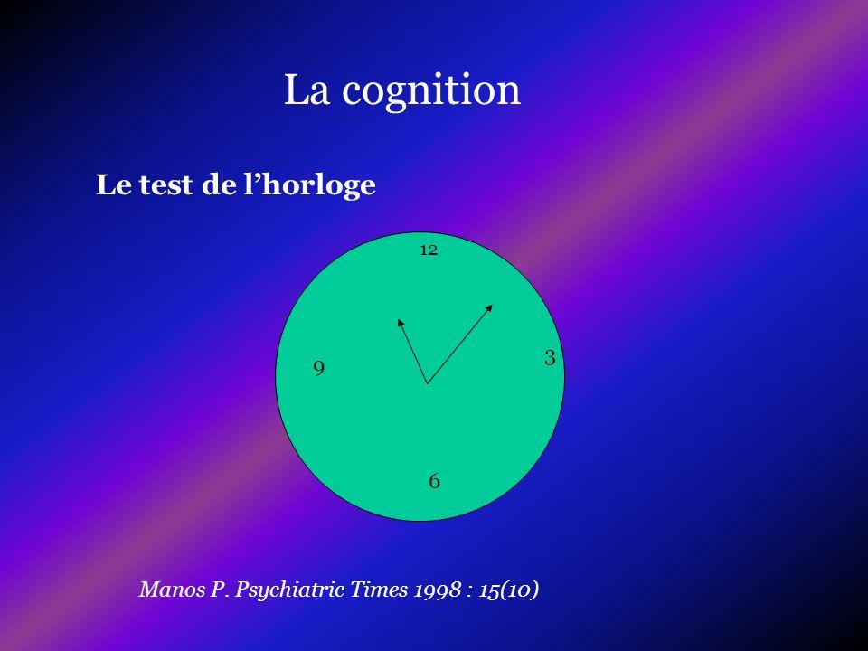 La cognition Le test de l'horloge 3 9 6