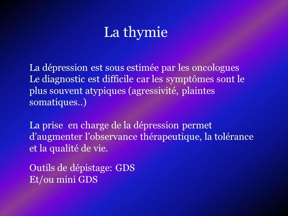 La thymie La dépression est sous estimée par les oncologues