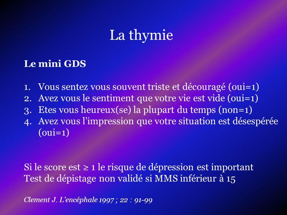 La thymie Le mini GDS. Vous sentez vous souvent triste et découragé (oui=1) Avez vous le sentiment que votre vie est vide (oui=1)