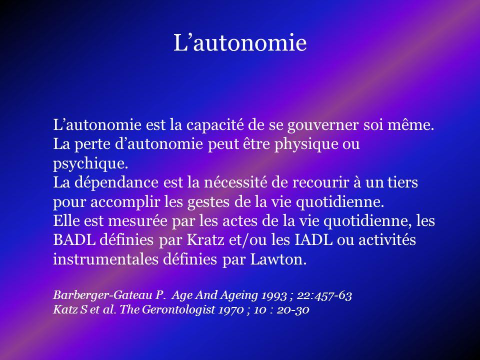 L'autonomieL'autonomie est la capacité de se gouverner soi même. La perte d'autonomie peut être physique ou psychique.