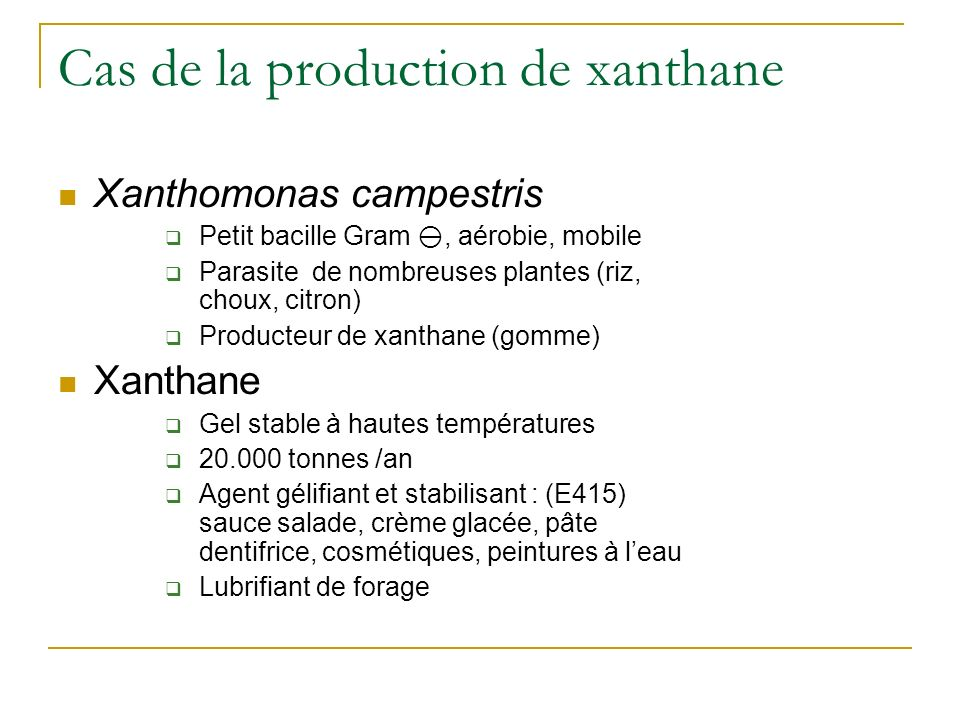 Cas de la production de xanthane