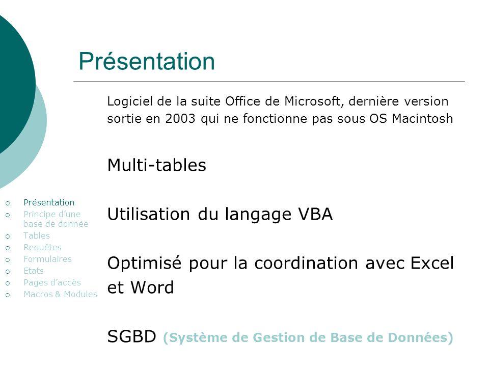Présentation Multi-tables Utilisation du langage VBA