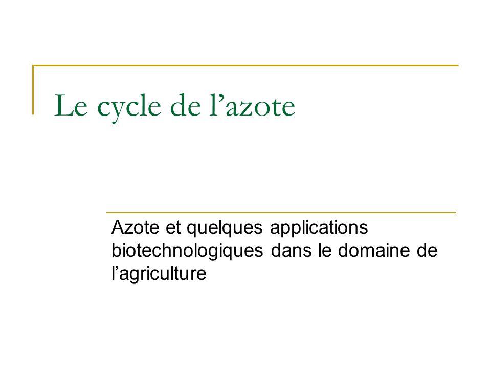 Le cycle de l'azote Azote et quelques applications biotechnologiques dans le domaine de l'agriculture.