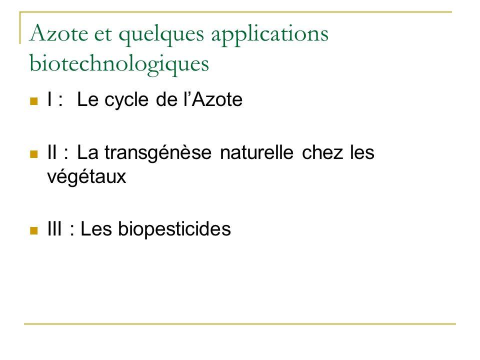 Azote et quelques applications biotechnologiques