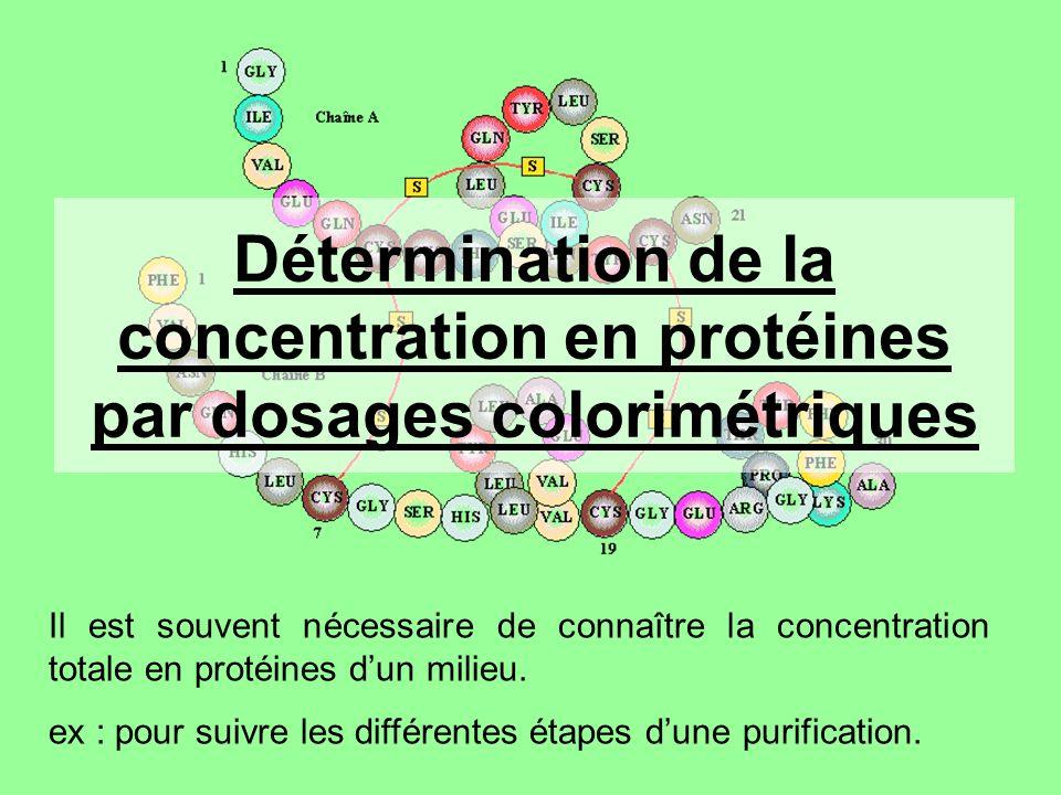 Détermination de la concentration en protéines par dosages colorimétriques