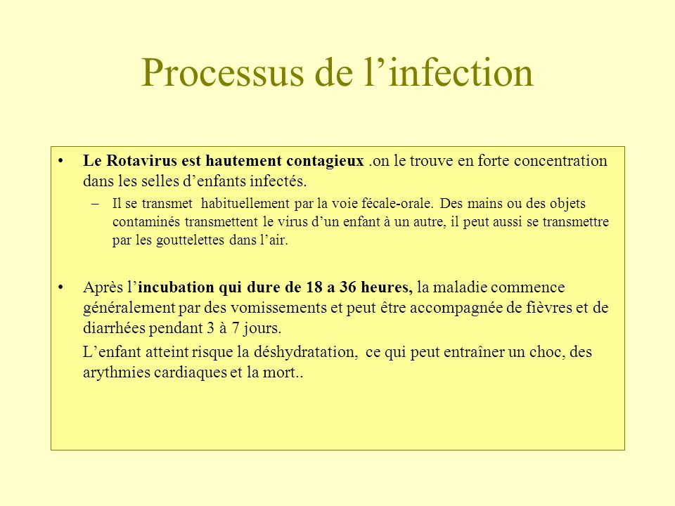 Processus de l'infection
