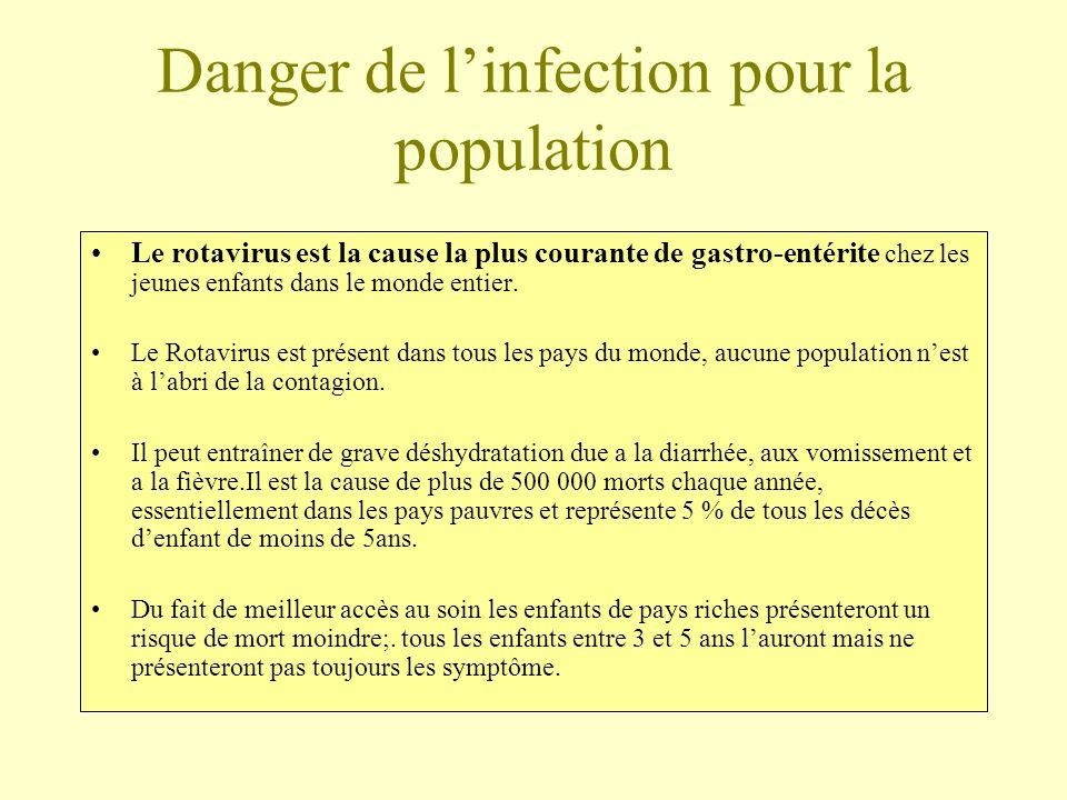 Danger de l'infection pour la population