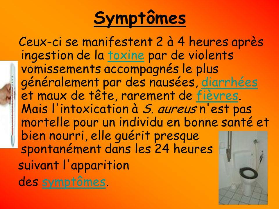 Symptômes suivant l apparition des symptômes.
