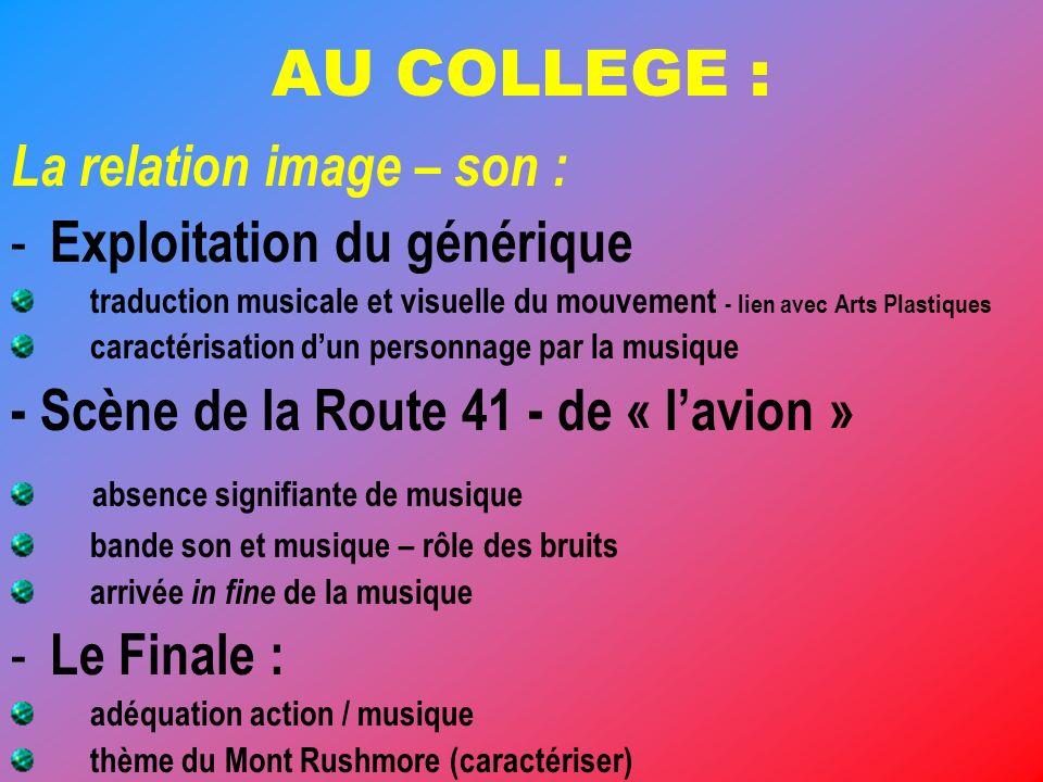 AU COLLEGE : La relation image – son : Exploitation du générique