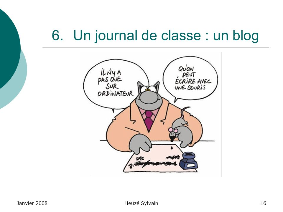 Un journal de classe : un blog
