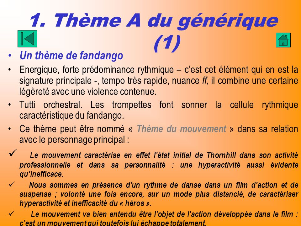 1. Thème A du générique (1) Un thème de fandango