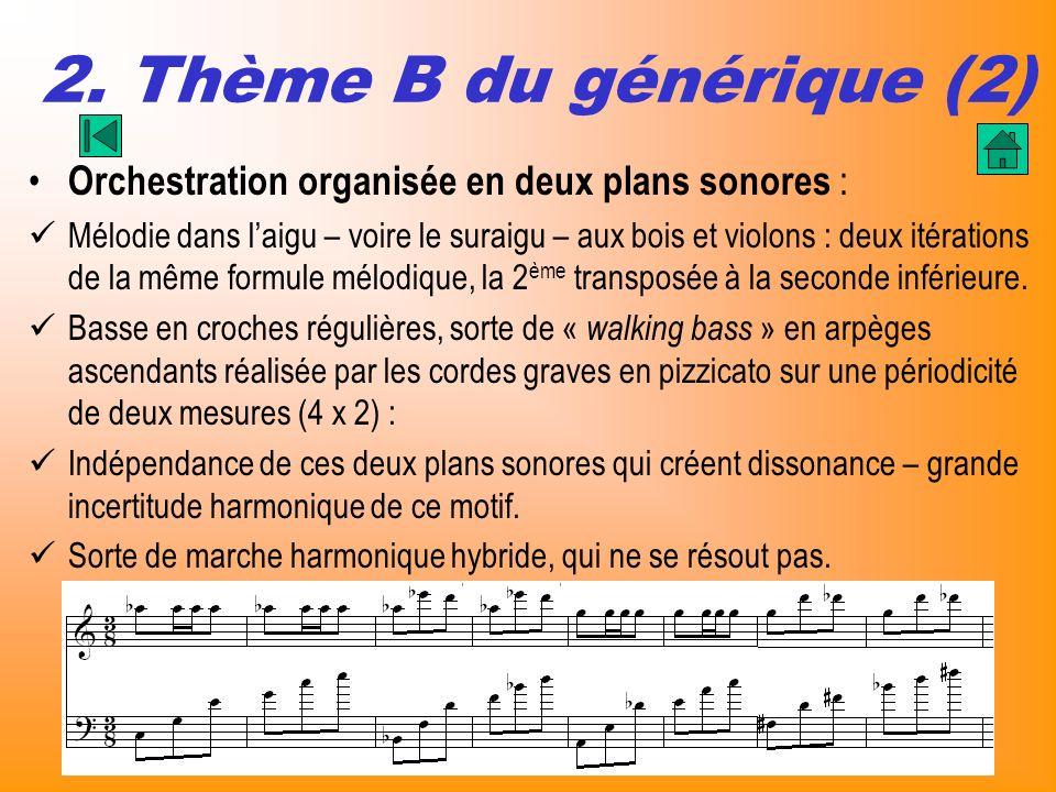 2. Thème B du générique (2) Orchestration organisée en deux plans sonores :