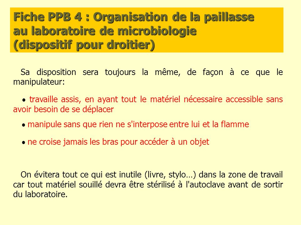 Fiche PPB 4 : Organisation de la paillasse au laboratoire de microbiologie (dispositif pour droitier)